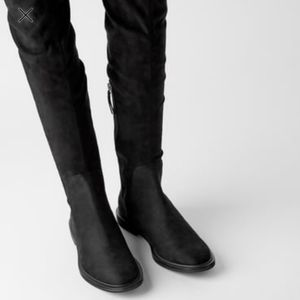 NWT Zara Black Flat Boots with elastic leg